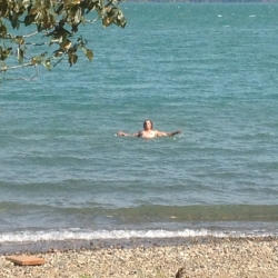 Our President taking a swim in Harrison Lake