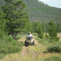 On trail to Gang Ranch cabin